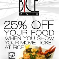 25% off food with movie ticket