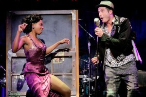 Felicia Boswell as Felicia and  Bryan Fenkart as Huey in Memphis  National Tour Credit Photo: Paul Kolnik studio@paulkolnik.com nyc 212-362-7778
